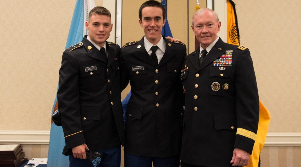 These two lucky cadets, Miller and Dougherty (UNC 17') meet the  Chairmen of Joint Chiefs